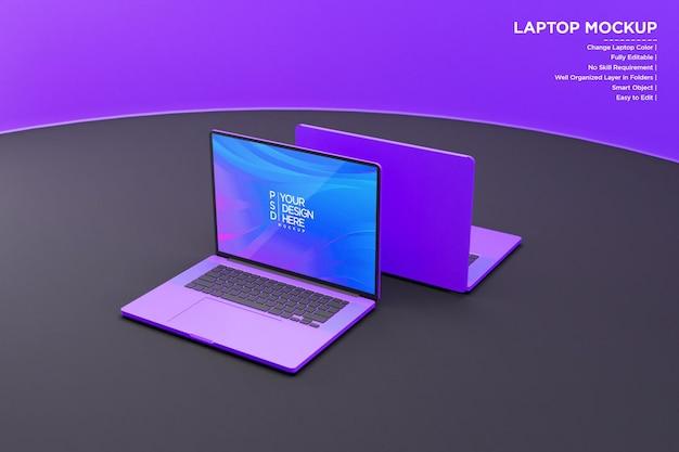Mockup di laptop con luci al neon
