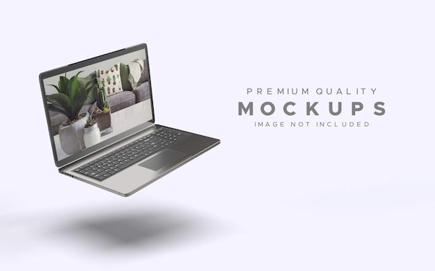 Laptop o notebook in gravity mockup