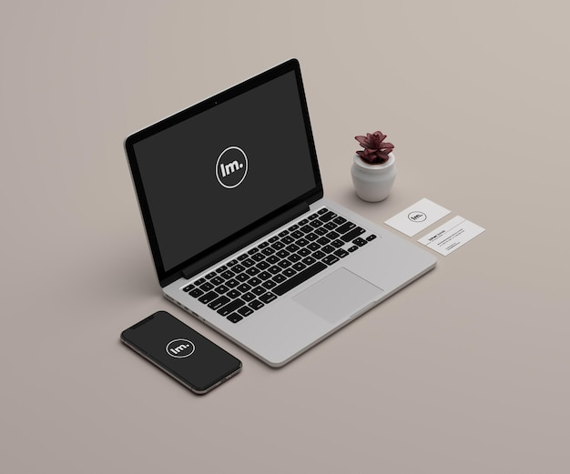 Mockup di laptop e telefono