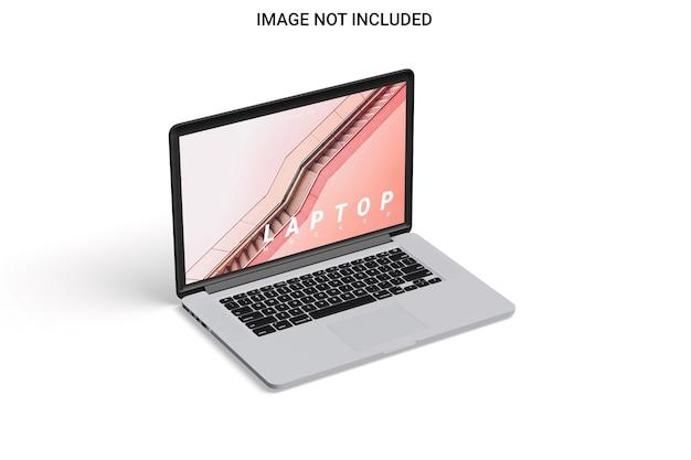 Vista sinistra del mockup dello schermo del computer portatile isolata