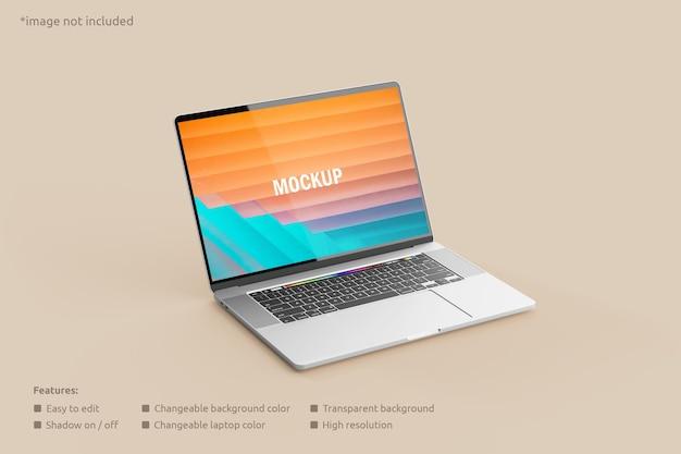 Vista laterale del mockup dello schermo del laptop