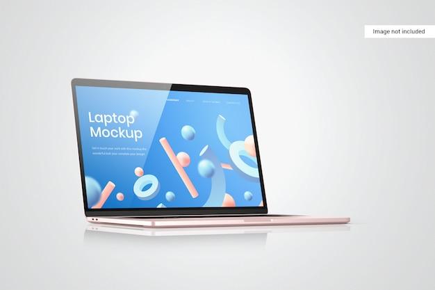 Vista laterale del mockup dello schermo del computer portatile
