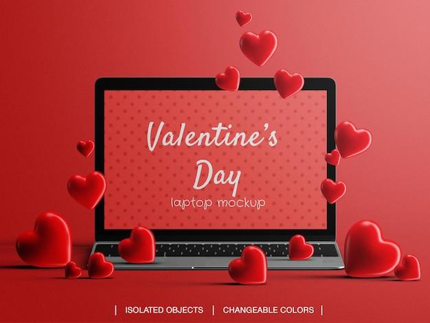 Mockup di vendita promozionale online dello schermo del computer portatile per il concetto di san valentino con cuori isolati