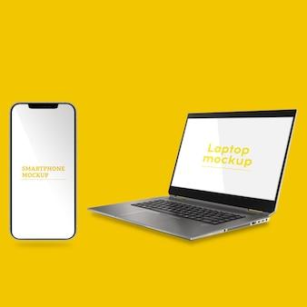 Modello di laptop e smartphone