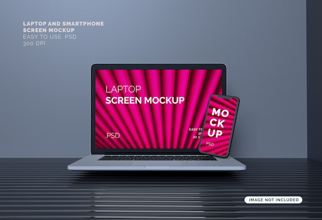 Schermo per laptop e smartphone mock-up