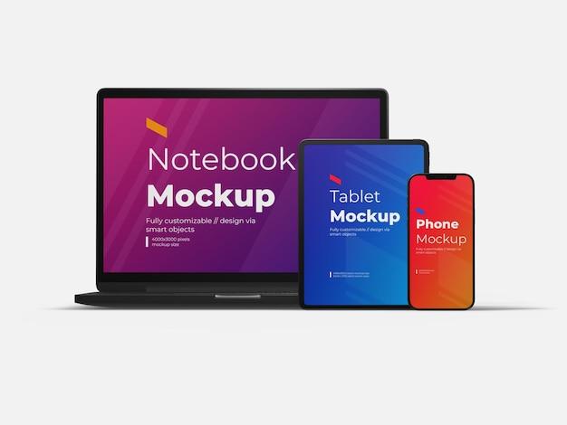 Modello di mockup di tablet e telefono cellulare per laptop