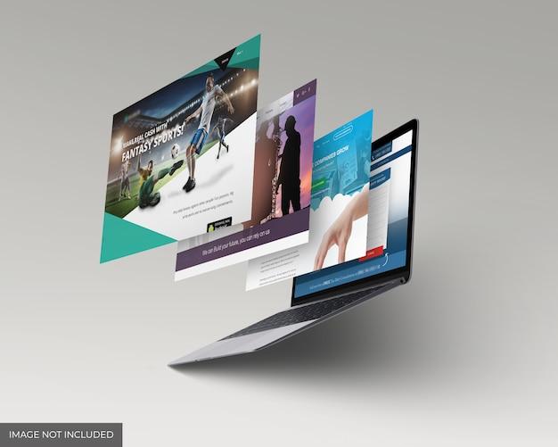 Modello di mockup di schermate di siti web per laptop