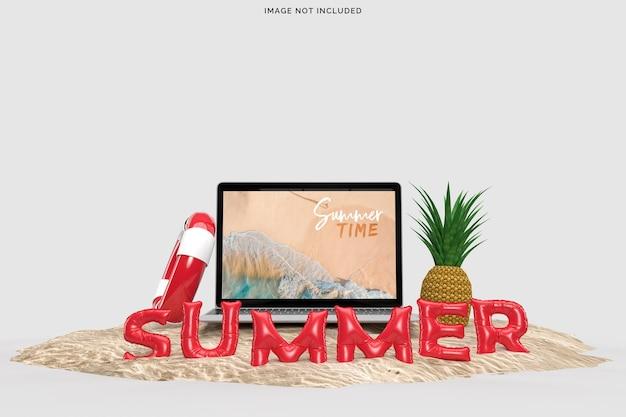 Computer portatile con oggetti decorativi da spiaggia. mockup del concetto di vendita estiva