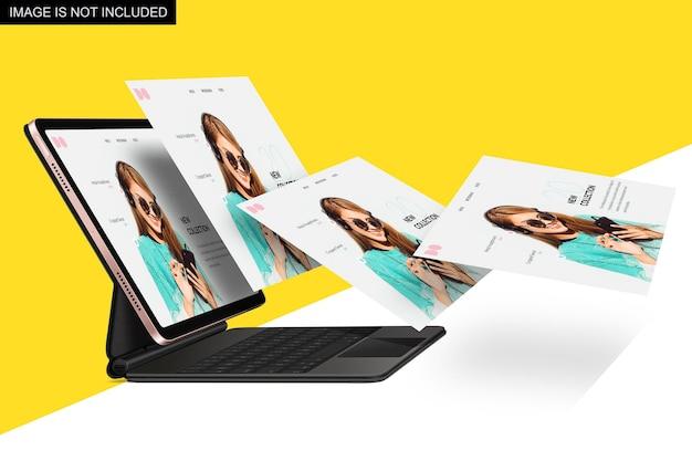 Laptop con più schermi galleggianti mockup design