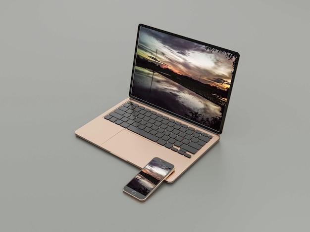 Laptop con mockup di smartphone