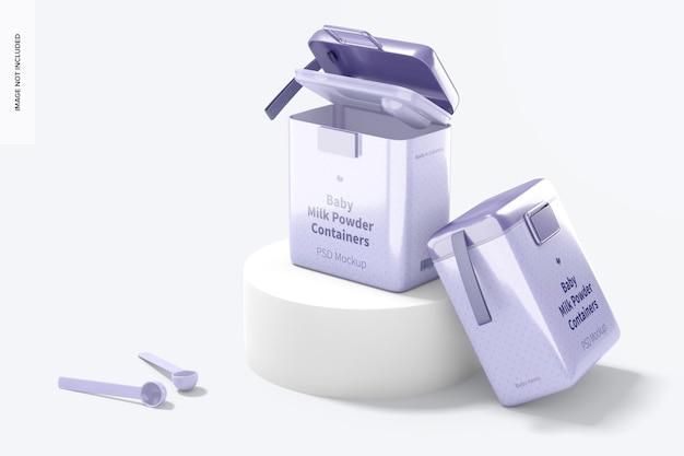 Mockup di contenitori per latte in polvere per bambini grandi