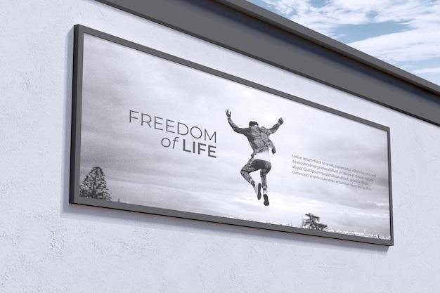 Grande cartellone segno sul muro mockup