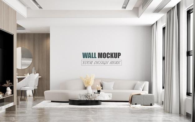 Mockup di parete dal design moderno di ampio soggiorno