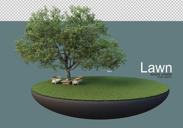 Prato con grandi alberi e set di mobili