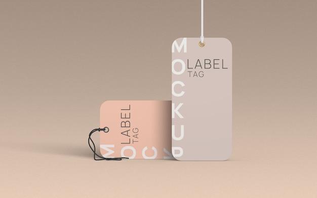 Mockup di etichetta di vestiti in piedi e sdraiati