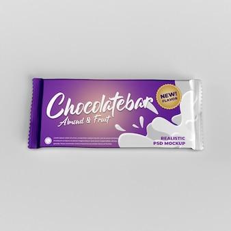 Mockup pubblicitario per la confezione di prodotti opachi con lamina di cioccolato