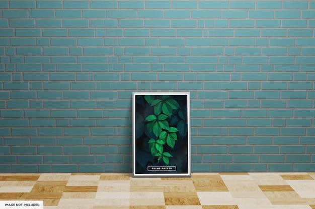 Mockup di poster cornice foglia con parete verde