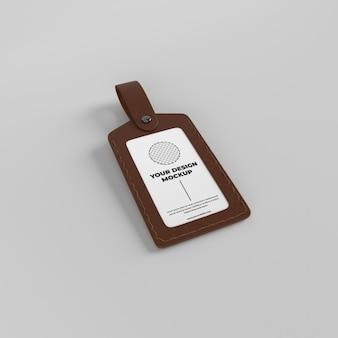 Mockup di badge per porta tessera in pelle