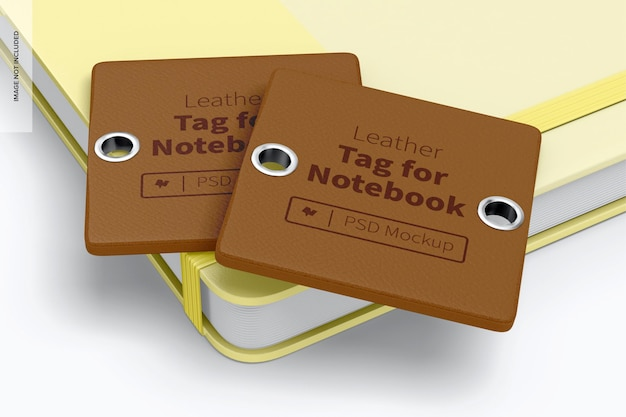 Etichetta in pelle per mockup di notebook, impilata