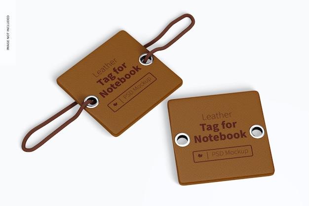 Etichette in pelle per notebook mockup