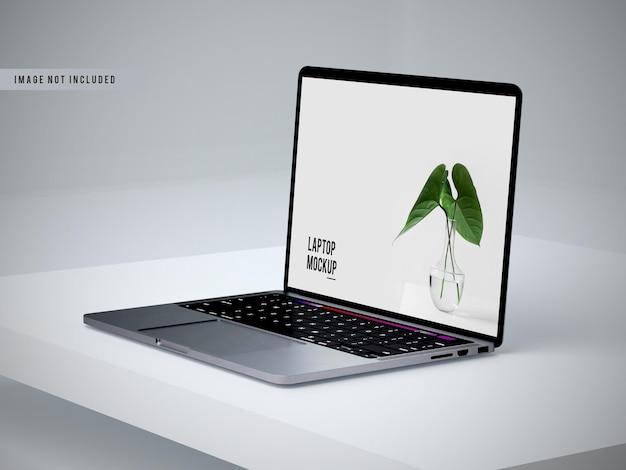 Vista sinistra del design del mockup del laptop