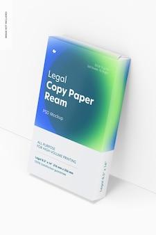 Mockup di risma di carta per copia legale, appoggiato