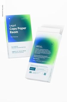 Mockup di risme di carta per copie legali, fluttuanti