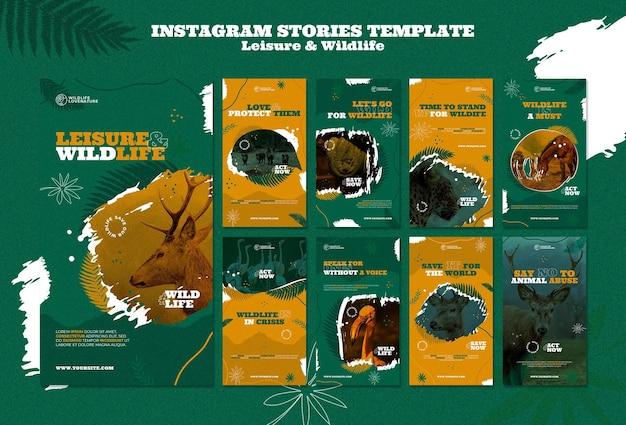 Storie di social media per il tempo libero e la fauna selvatica