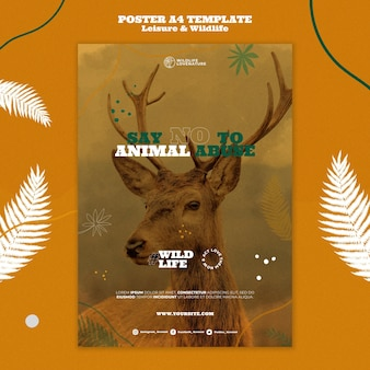 Modello di stampa verticale per il tempo libero e la fauna selvatica