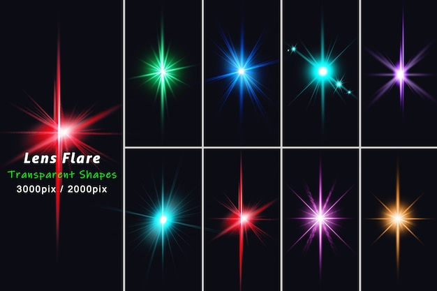 Razzi di lenti e luce realistica insieme isolano insieme