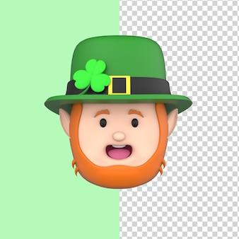 Leprechaun in cappello felice giorno di san patrizio modello di rendering 3d happy