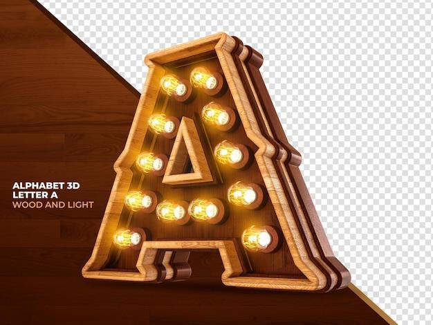Lettera a 3d render legno con luci realistiche