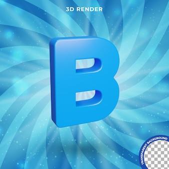 La lettera b 3d rende l'effetto di testo di colore blu