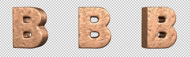 Lettera b dal set di raccolta alfabeto lettere di rame. isolato. rendering 3d