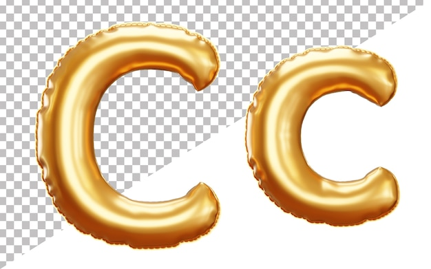 Lettera c alfabeto palloncino in lamina d'oro in stile 3d maiuscolo e minuscolo