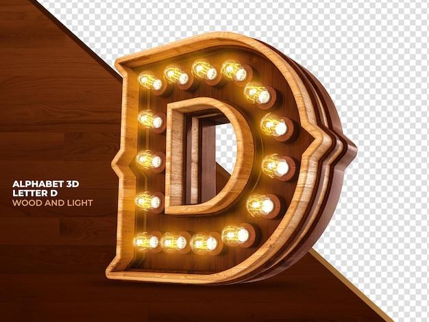 La lettera d 3d rende il legno con luci realistiche