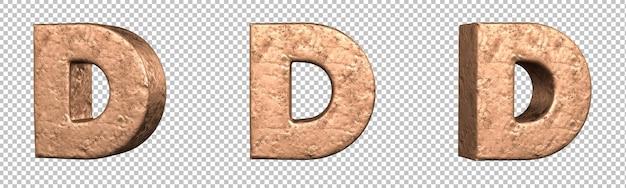 Lettera d dal set di raccolta alfabeto lettere di rame. isolato. rendering 3d