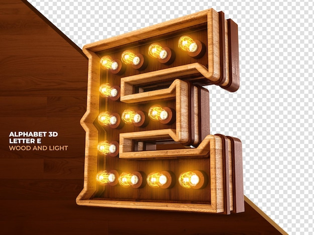 Lettera e 3d render legno con luci realistiche