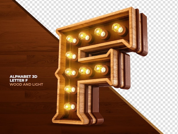 Lettera f 3d render legno con luci realistiche