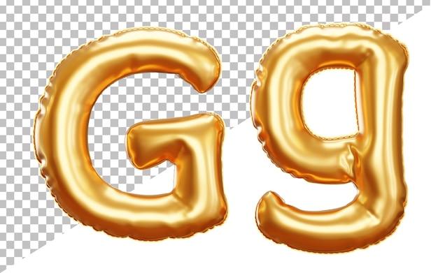 Lettera g alfabeto palloncino in lamina d'oro in stile 3d maiuscolo e minuscolo