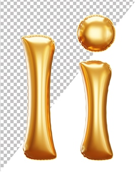 Lettera i alfabeto palloncino in lamina d'oro in stile 3d maiuscolo e minuscolo