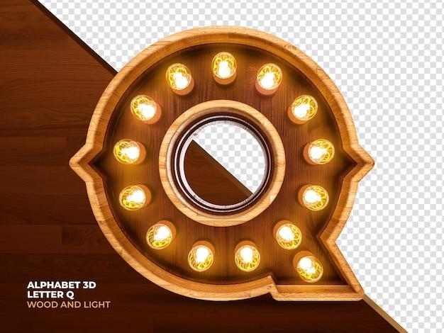 Lettera q 3d render legno con luci realistiche
