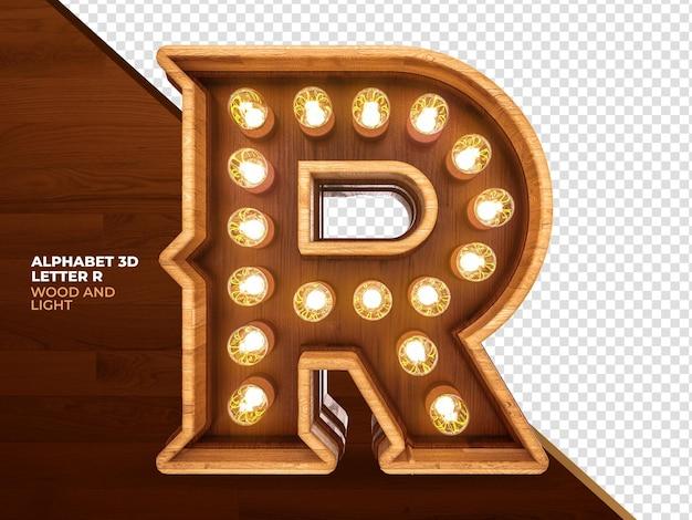 Lettera r 3d render legno con luci realistiche