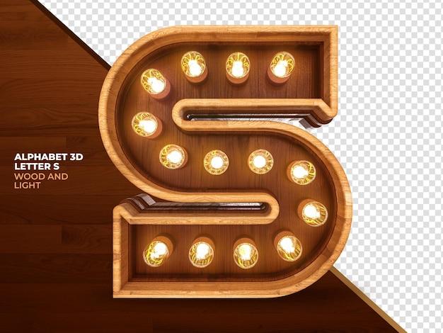 Lettera s 3d render legno con luci realistiche