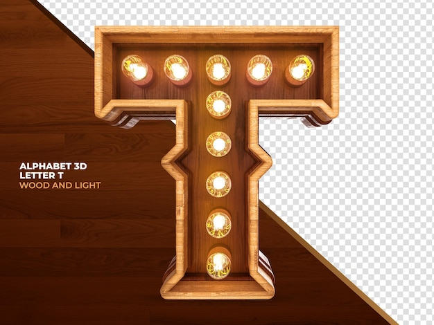 La lettera t 3d rende il legno con luci realistiche