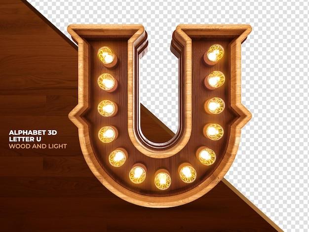 La lettera u 3d rende il legno con luci realistiche