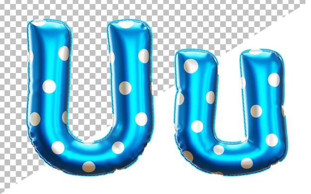 Alfabeto con palloncino in lamina di elio a pois lettera u con lettere maiuscole e minuscole