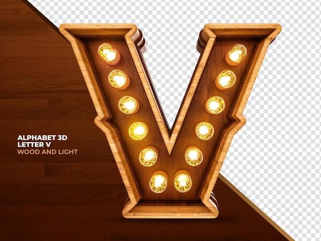Lettera v 3d render legno con luci realistiche
