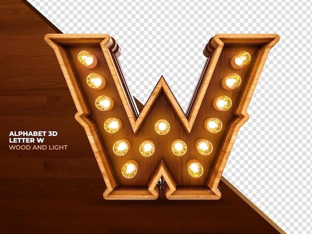 Lettera w 3d render legno con luci realistiche
