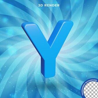 La lettera y 3d rende l'effetto del testo di colore blu